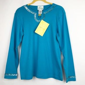 THE QUACKER FACTORY Turquoise Top with Sequins NWT
